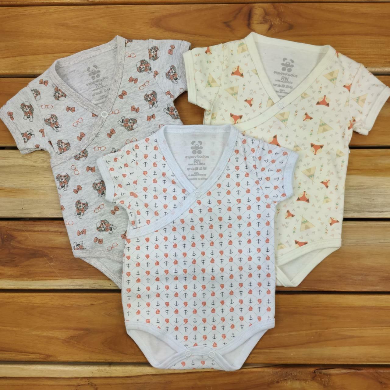 Kit Body Bebê 3 Peças Estampados Neutro