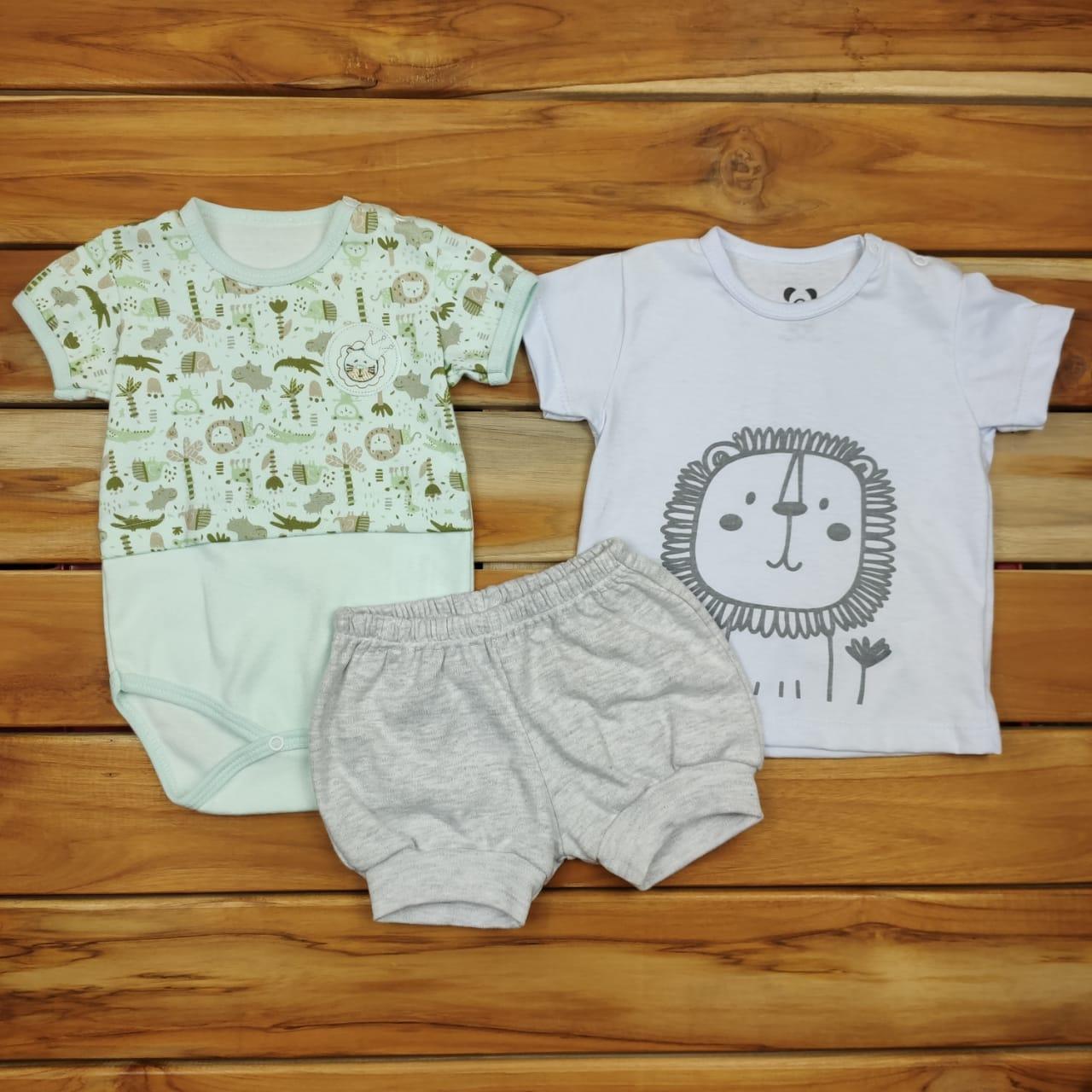 Kit Camiseta Body e Shorts Bebê Floresta