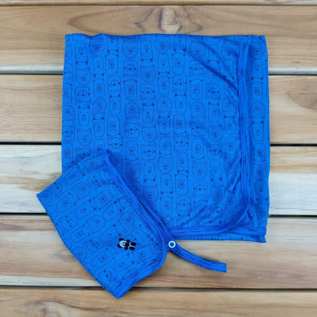 Kit Manta e Pano de Boca Azul de Ursinhos