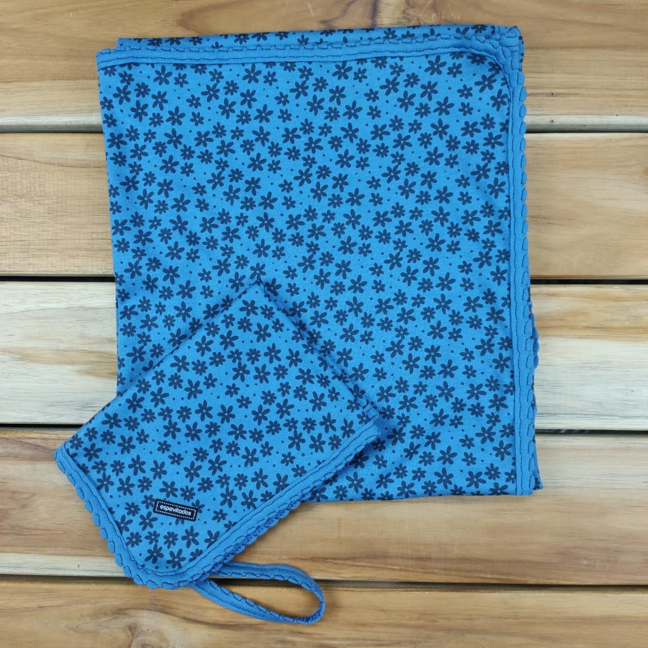Kit Manta e Pano de Boca Azul Floral