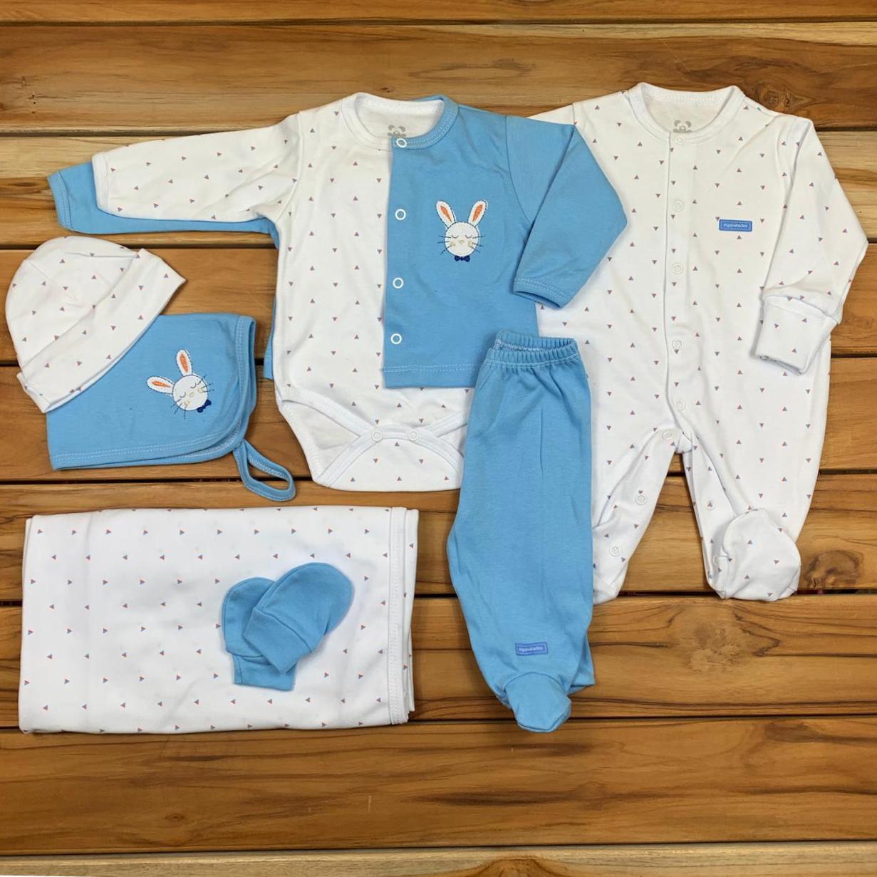 Kit Saída Maternidade Azul e Branco - 9 Peças