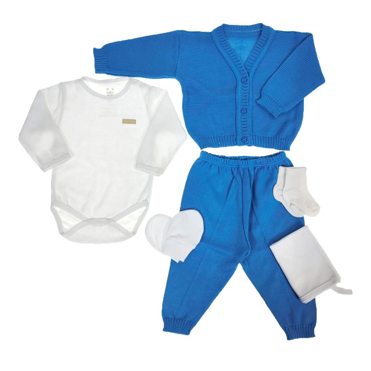 Kit Maternidade Azul com Tricô - 6 Peças