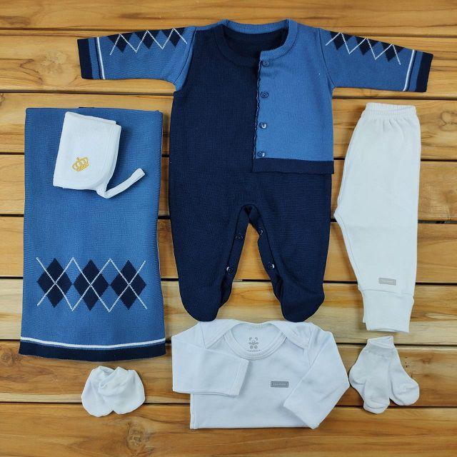 Kit Maternidade Azul em Tricô - 8 Peças