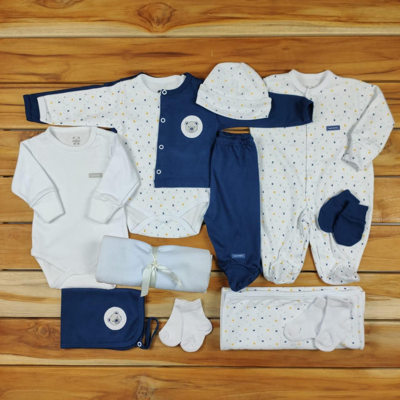 Kit Maternidade Azul e Branco - 12 Peças