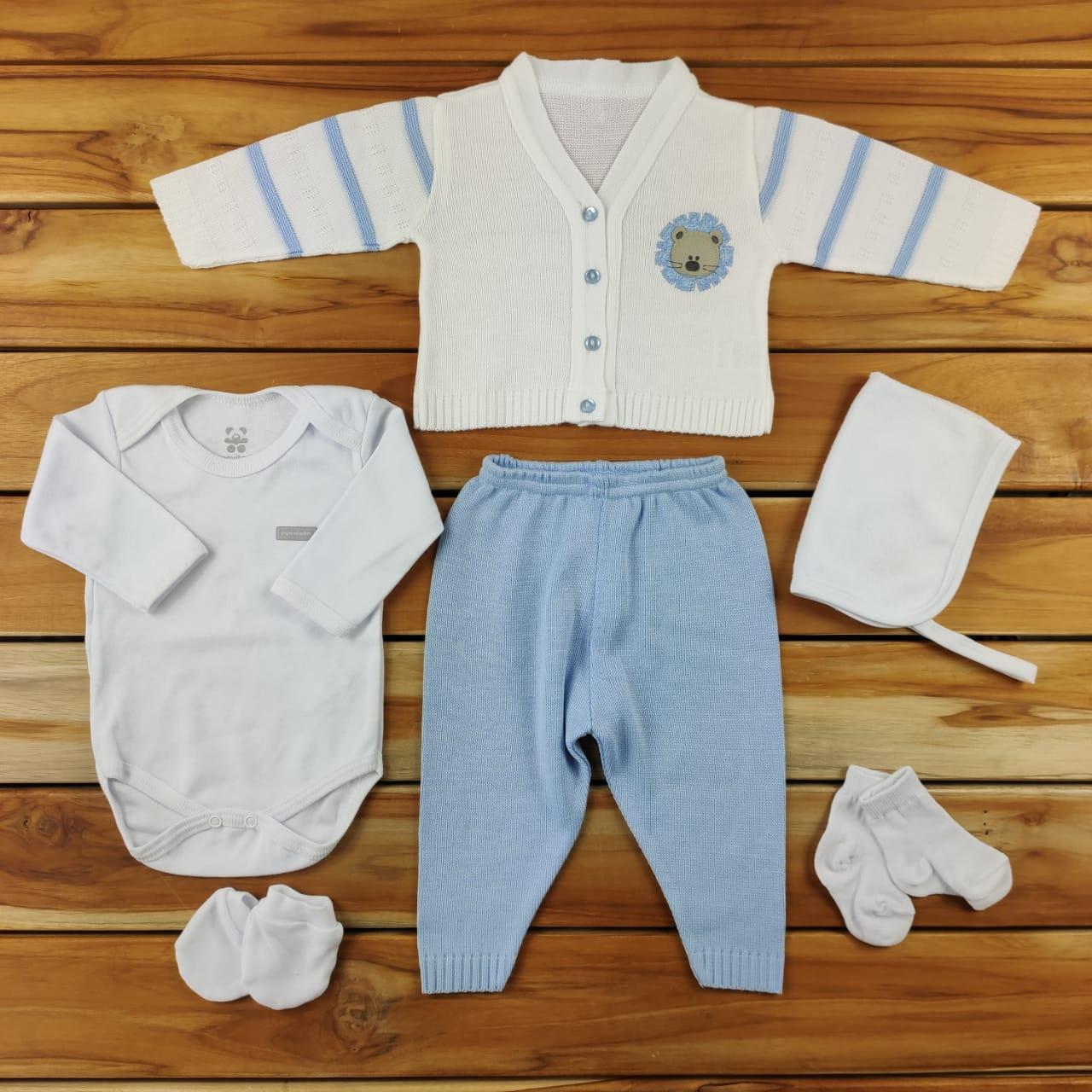 Kit Maternidade Azul e Branco com Tricô - 6 Peças