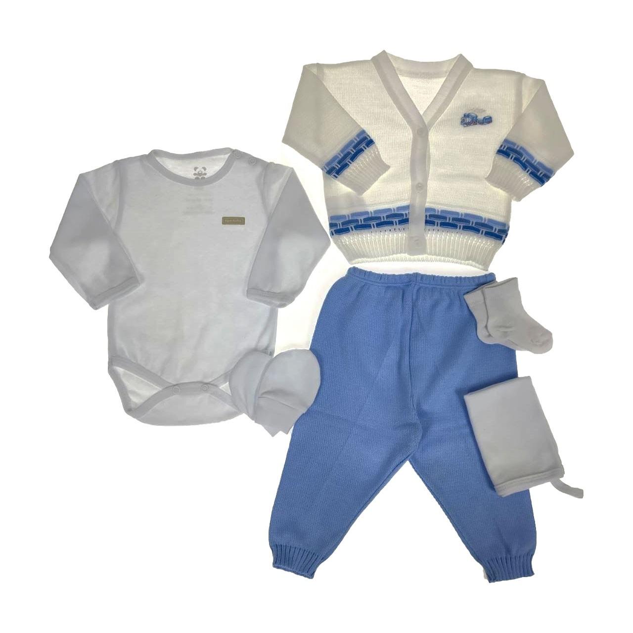 Kit Maternidade Azul e  Branco com Tricô - 6 Peças #PROMODODIA