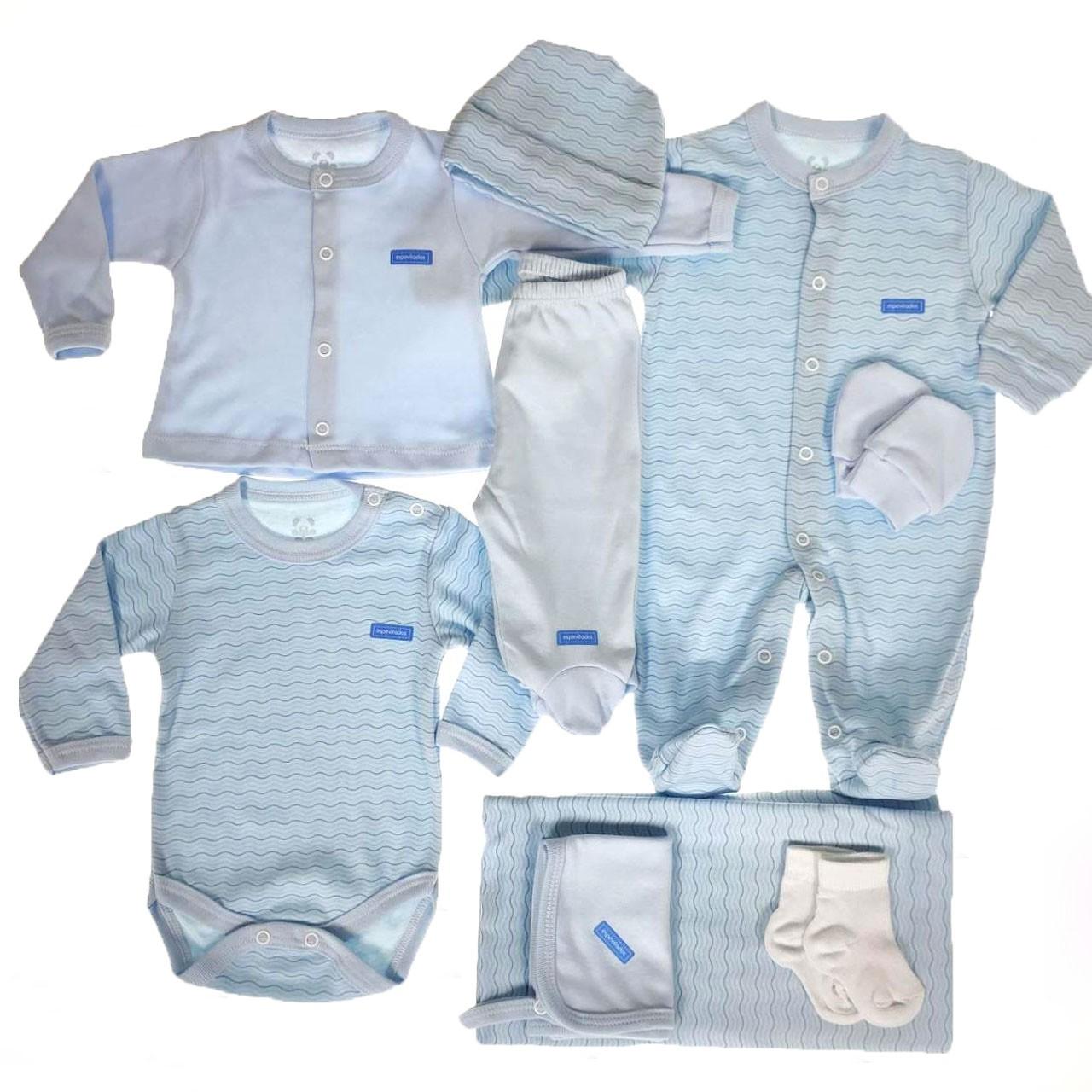 Kit Maternidade Azul Estampa - 9 Peças