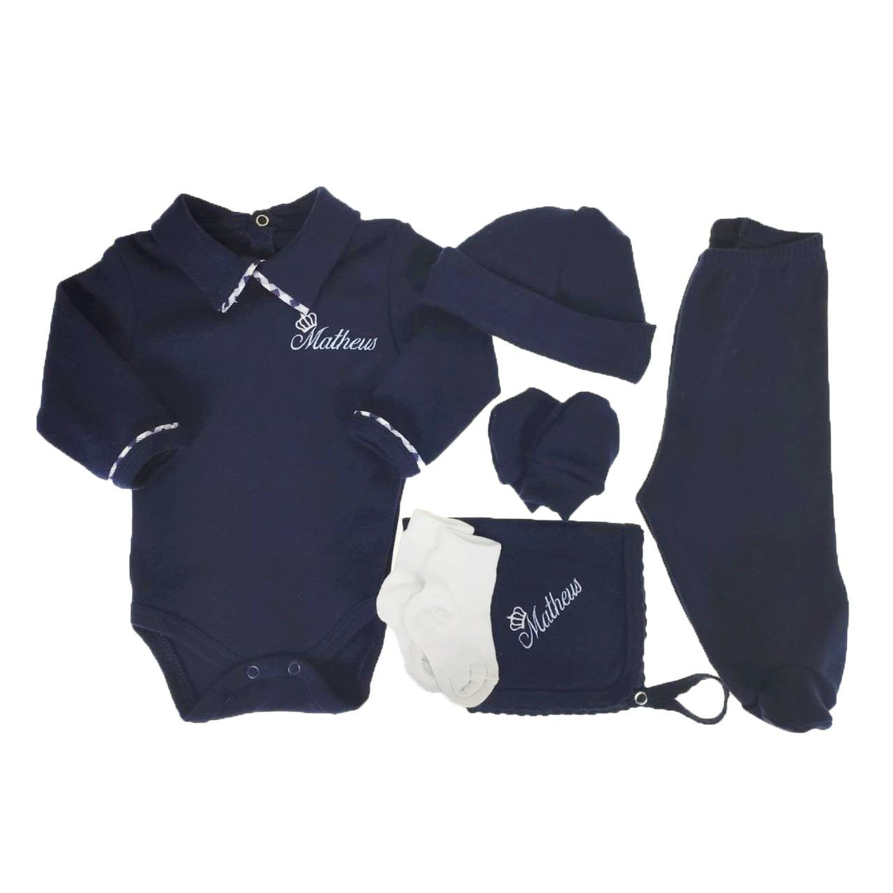 Kit Maternidade Azul Personalizado - 6 PEÇAS