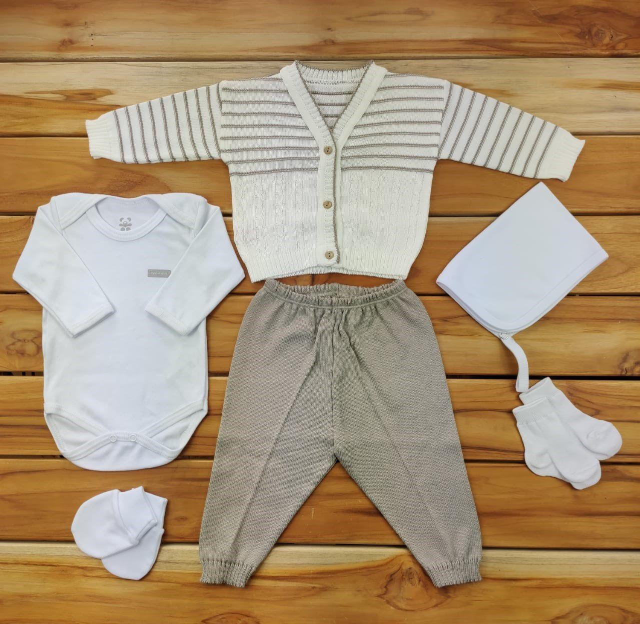 Kit Maternidade Bege E Branco com Tricô - 6 Peças