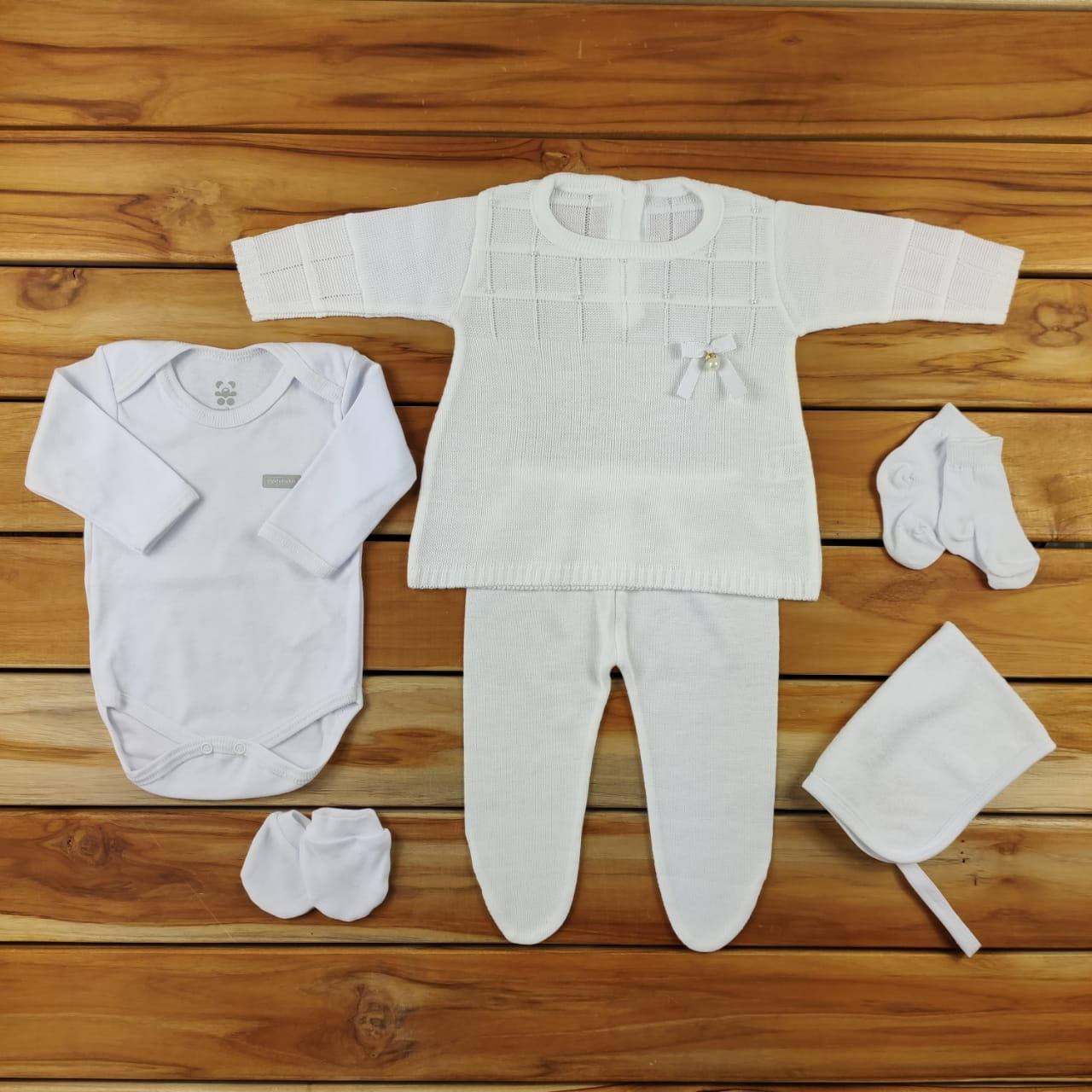 Kit  Maternidade Branco com Tricô - 6 Peças