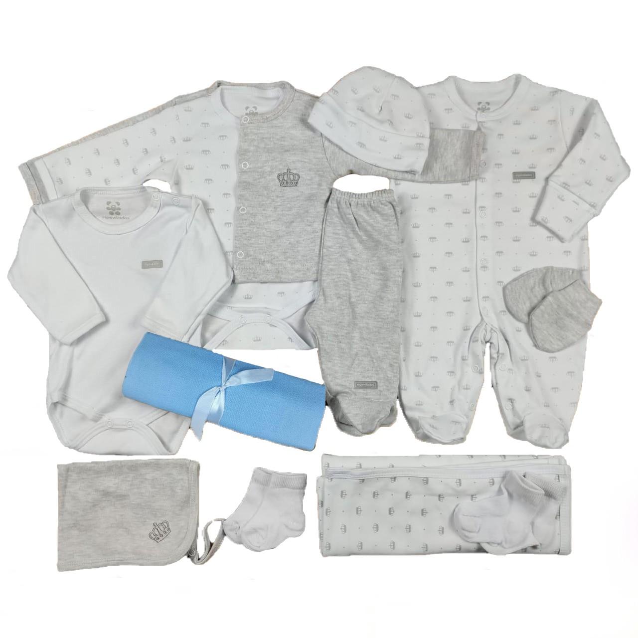 Kit Maternidade Branco e Mescla - 12 Peças