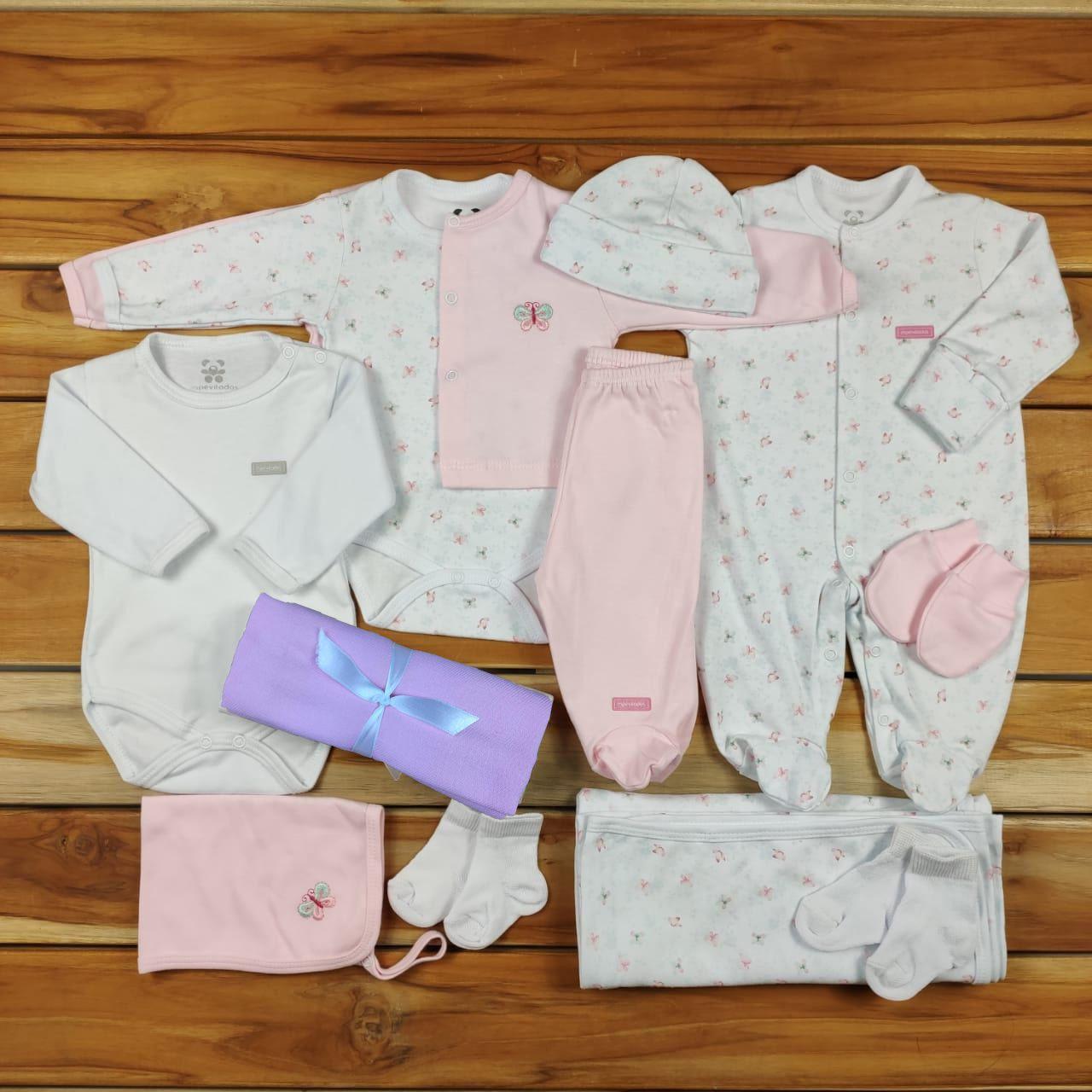Kit  Maternidade  Branco e Rosa - 12 Peças