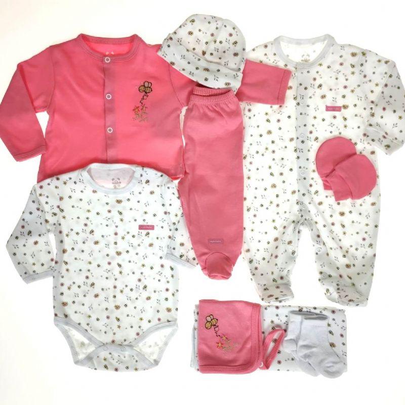 Kit Maternidade Branco E Rosa Estampa - 9 Peças