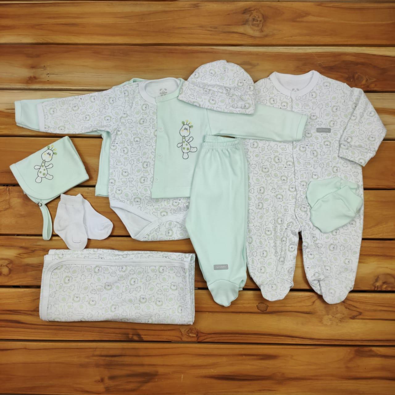 Kit Maternidade Branco E Verde Estampa - 9 Peças