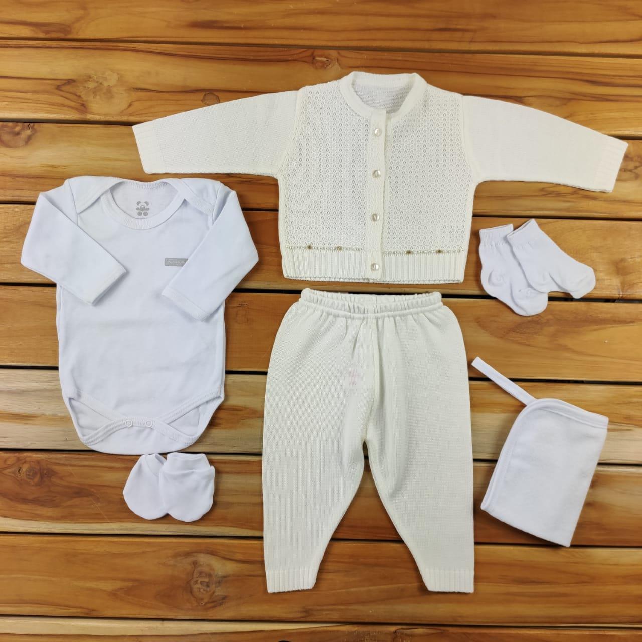 Kit Maternidade Cru com Tricô - 6 Peças