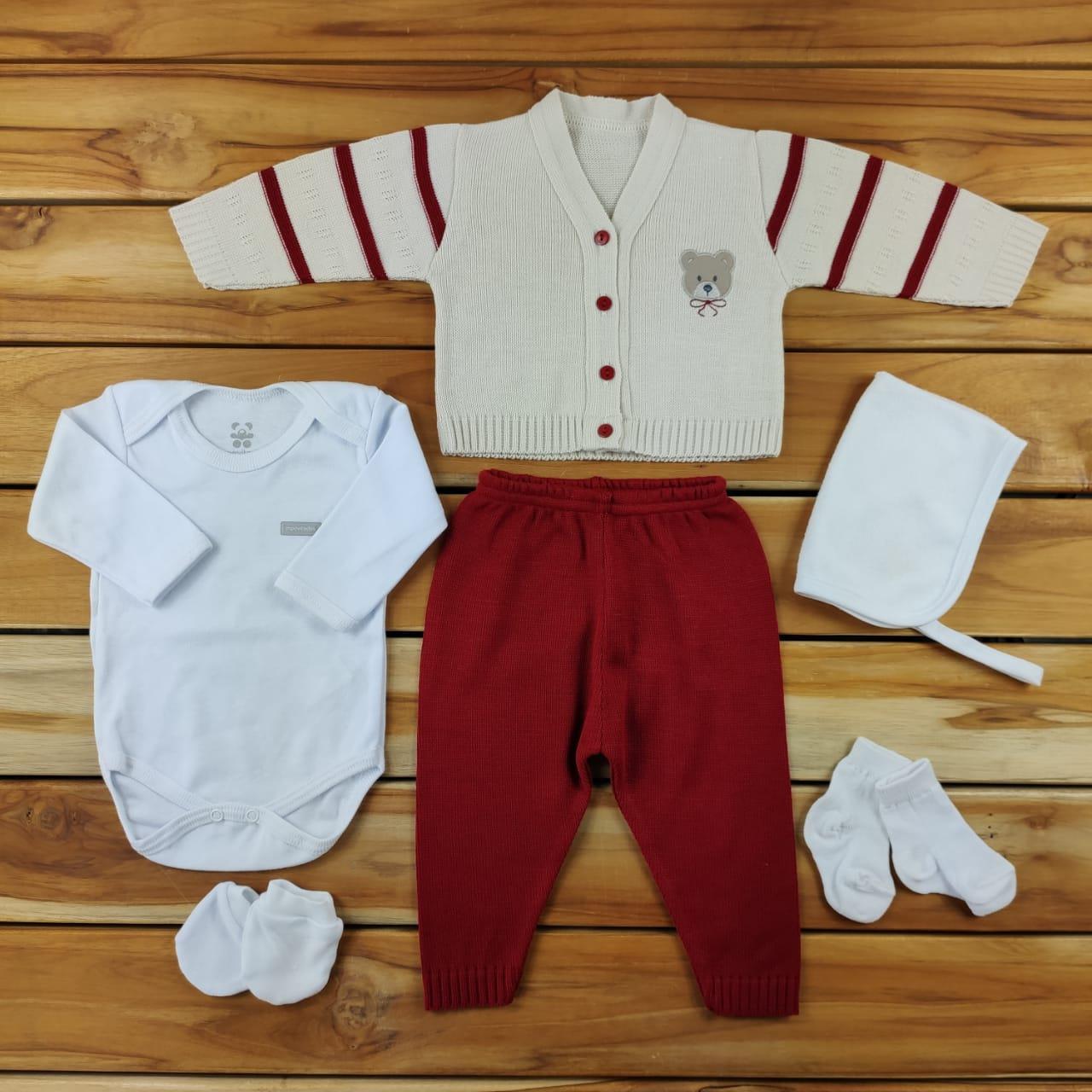 Kit Maternidade Cru com Vermelho com Tricô - 6 Peças