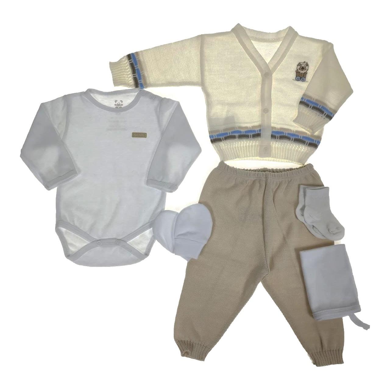 Kit Maternidade Cru E Branco com Tricô - 6 Peças