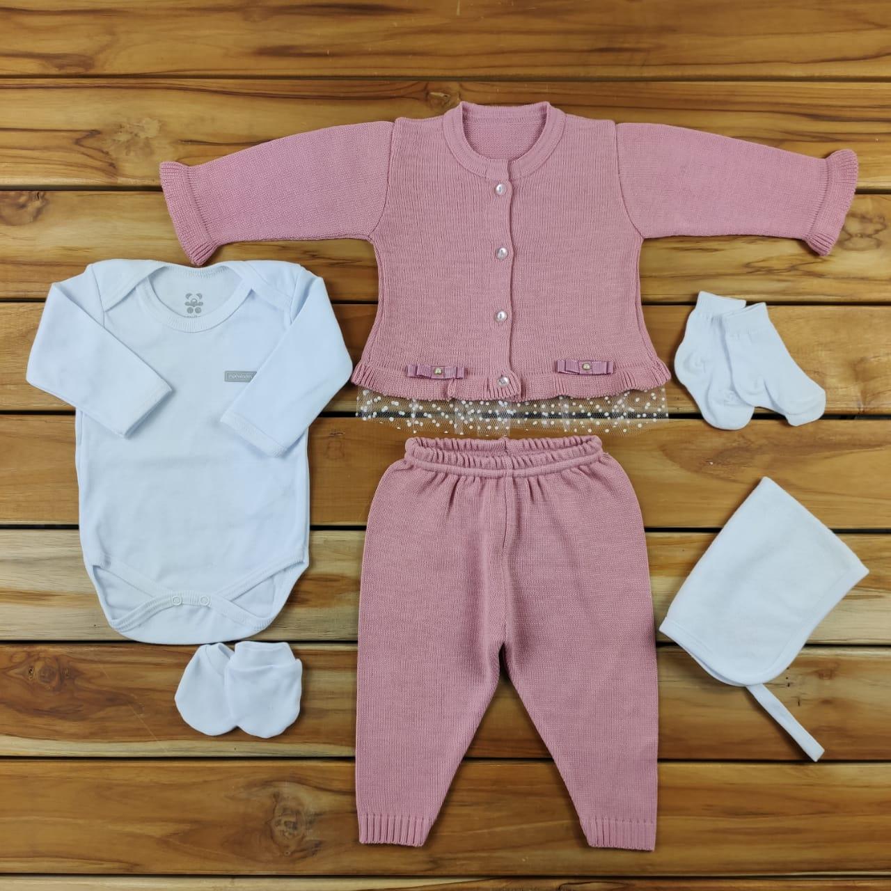 Kit Maternidade Rosa com Tricô- 6 Peças