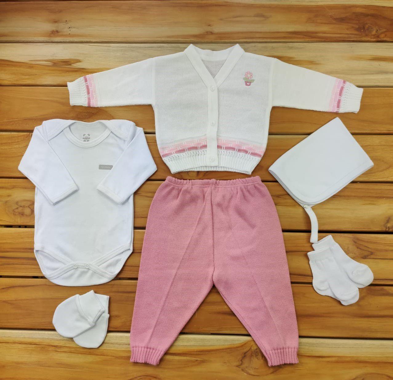Kit Maternidade Rosa com Tricô - 6 Peças