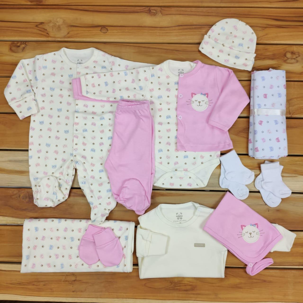 Kit Maternidade Rosa e Cru - 12 Peças