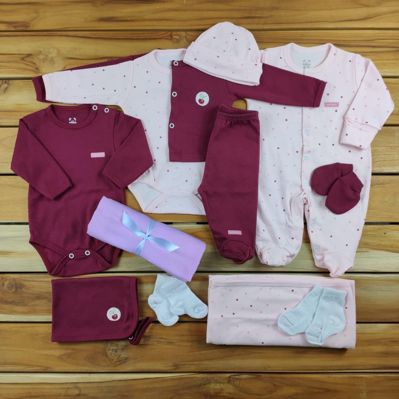 Kit Maternidade Rosa e Marsala - 12 Peças