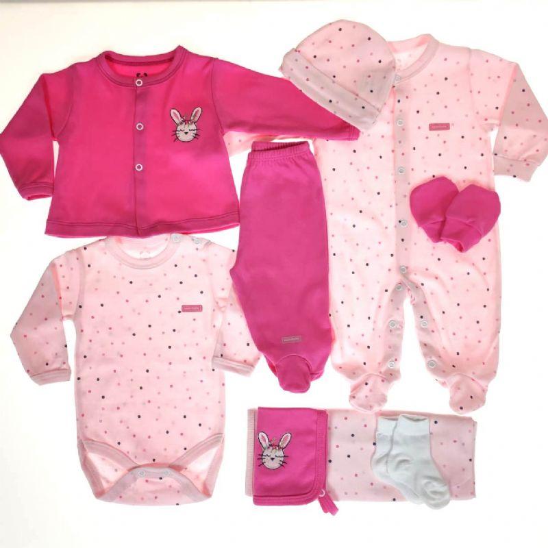 Kit Maternidade Rosa e Pink - 9 Peças