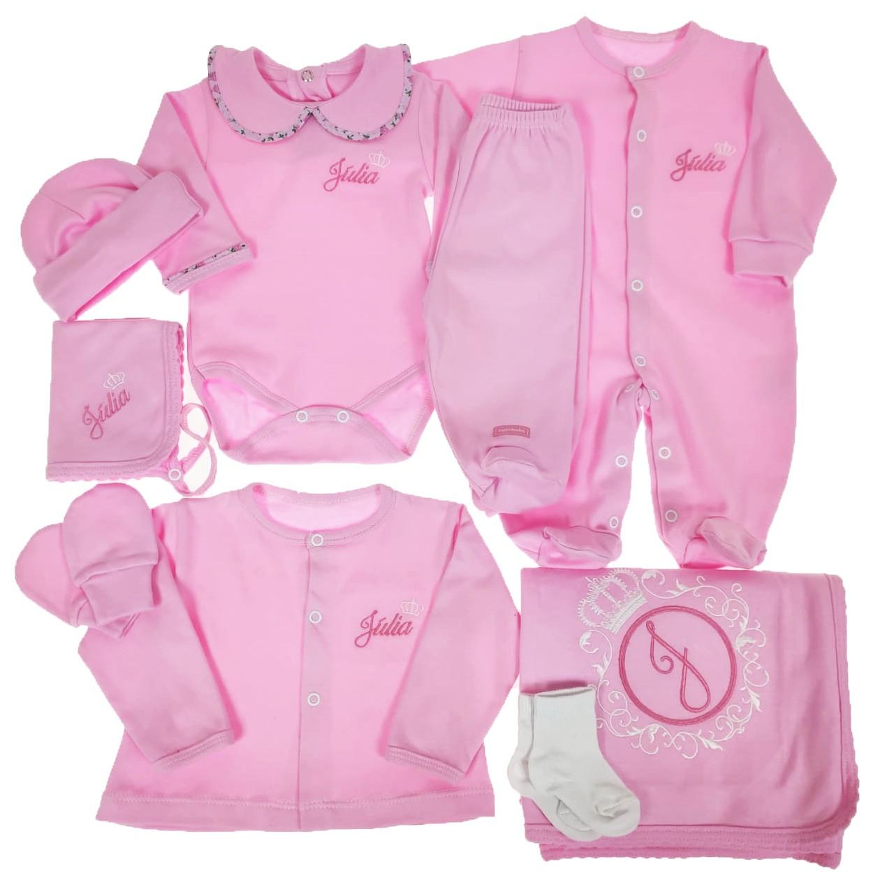 Kit Maternidade Rosa Personalizado - 9 PEÇAS