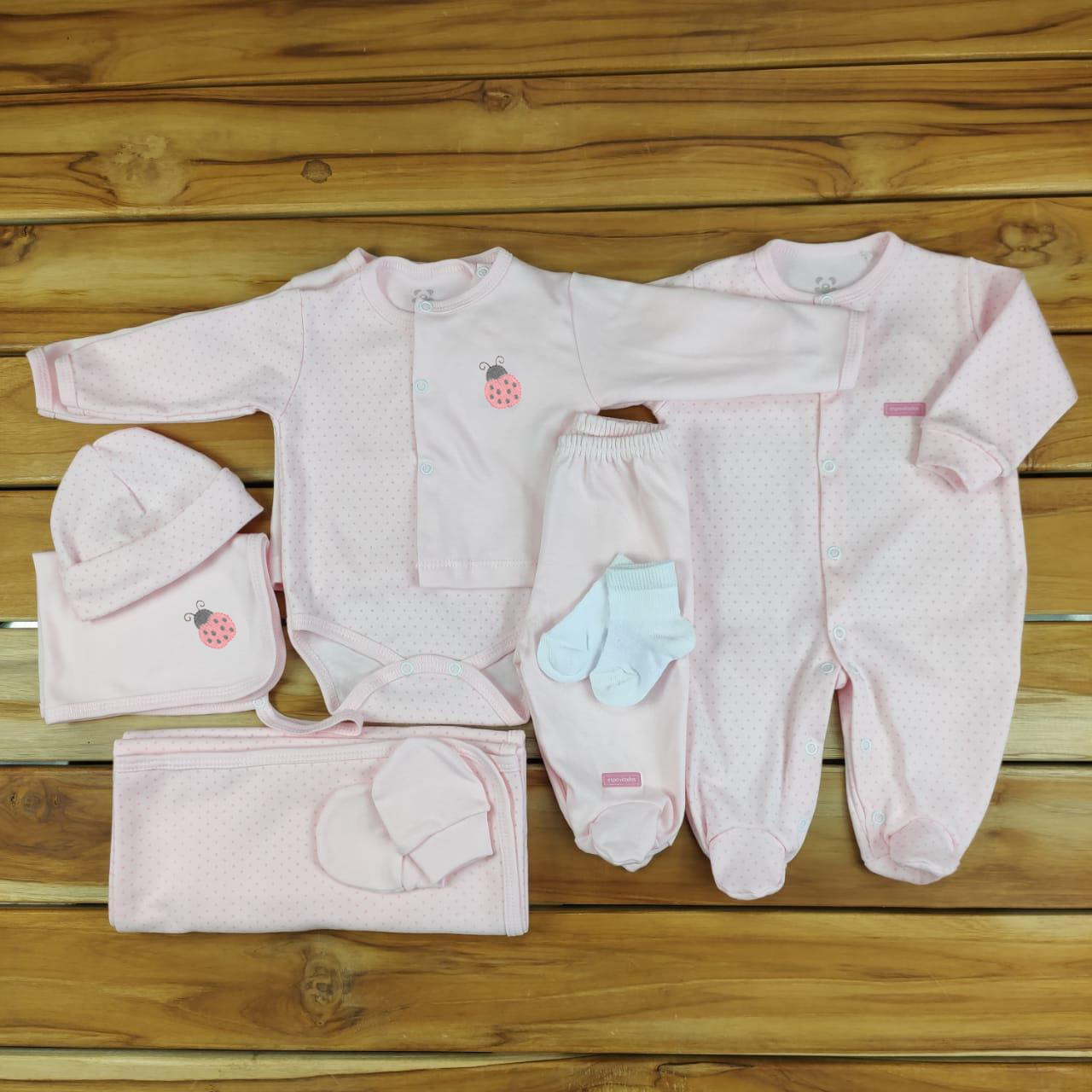 Kit Maternidade Rosa Poá - 9 Peças