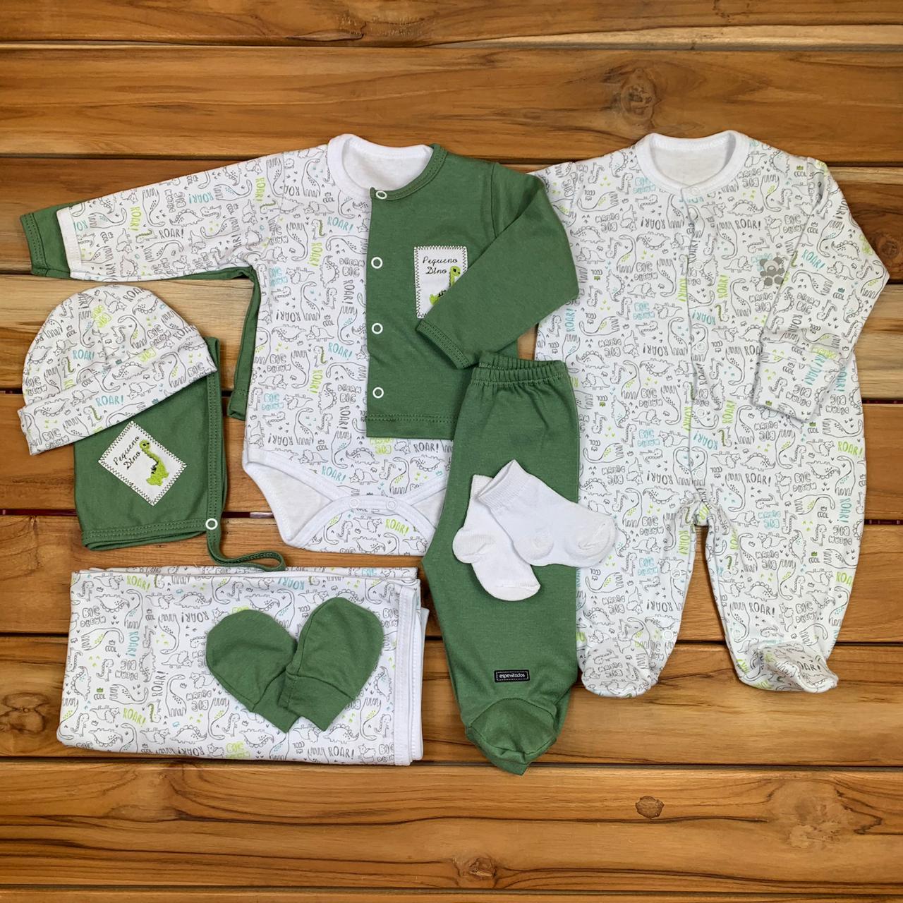 Kit Maternidade Verde e Branco - 9 Peças
