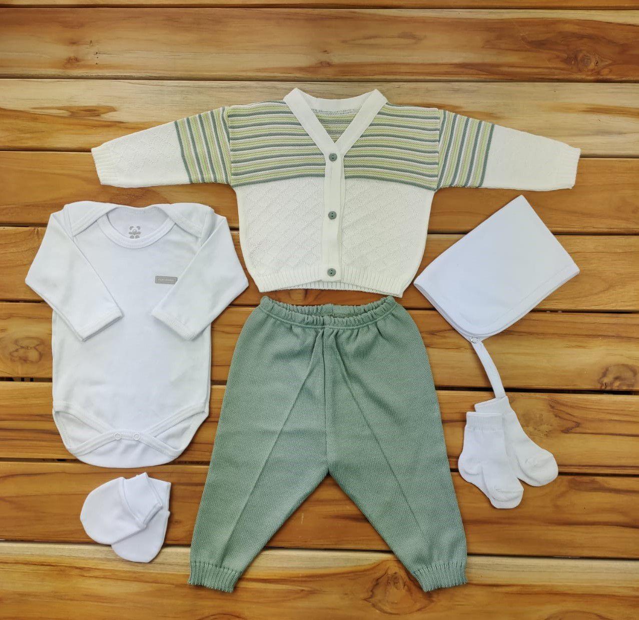 Kit Maternidade Verde e Branco com Tricô - 6 Peças