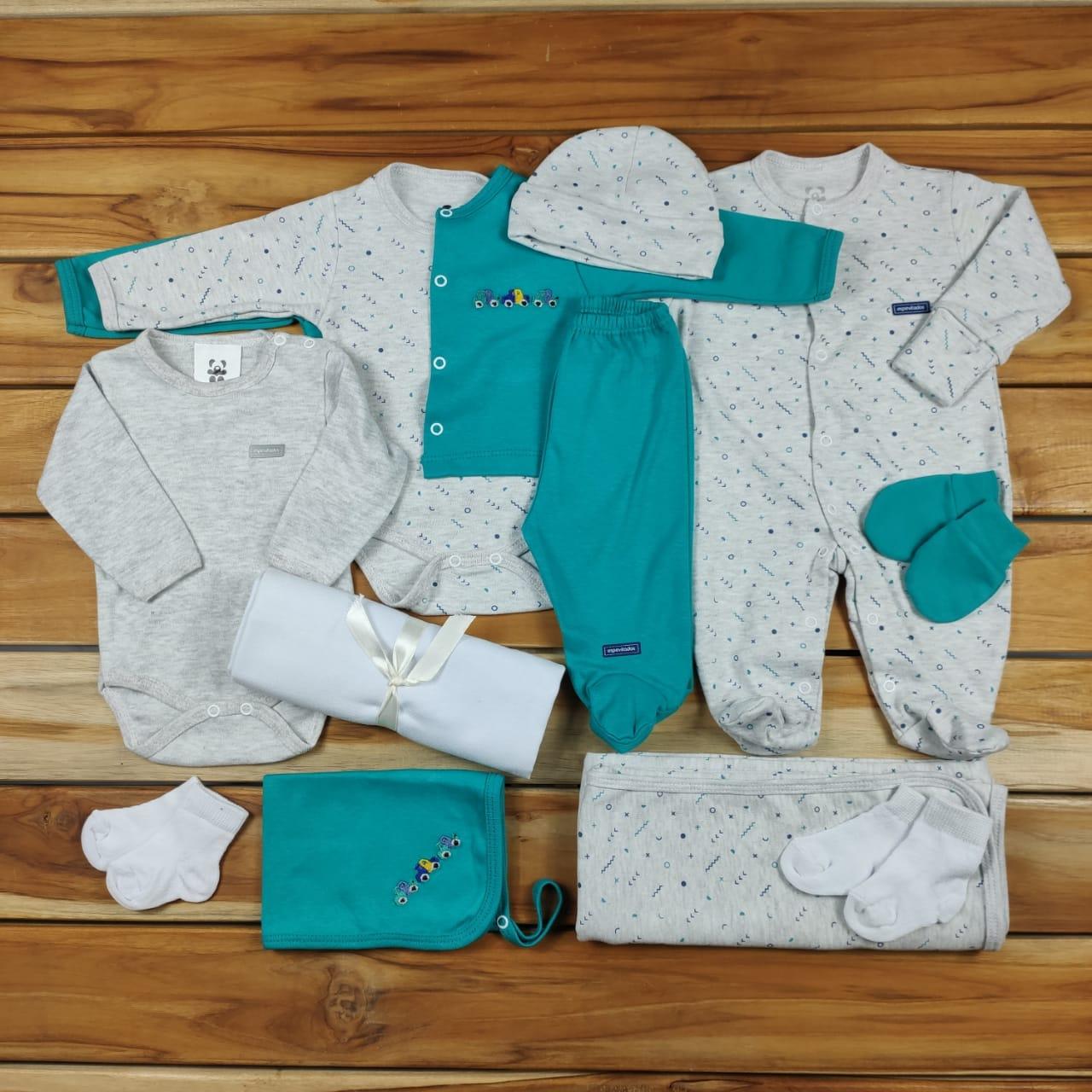 Kit Maternidade Verde e Mescla - 12 Peças