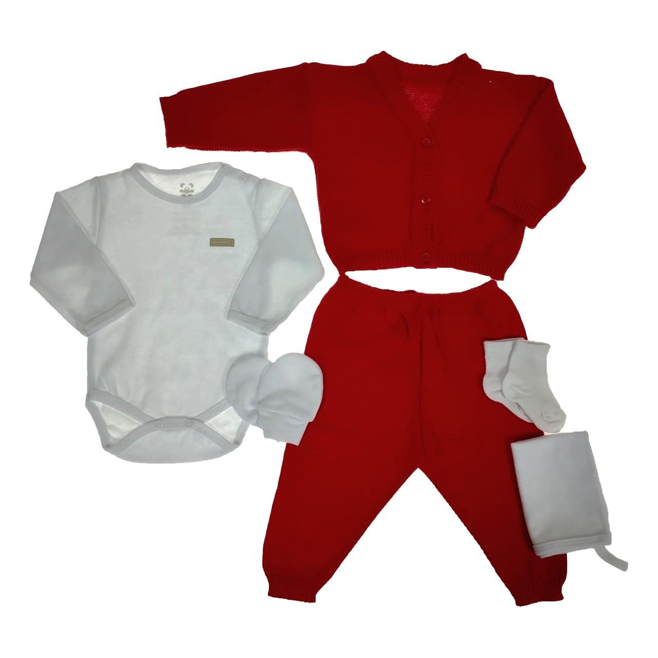 Kit Maternidade Vermelha com Tricô - 6 Peças