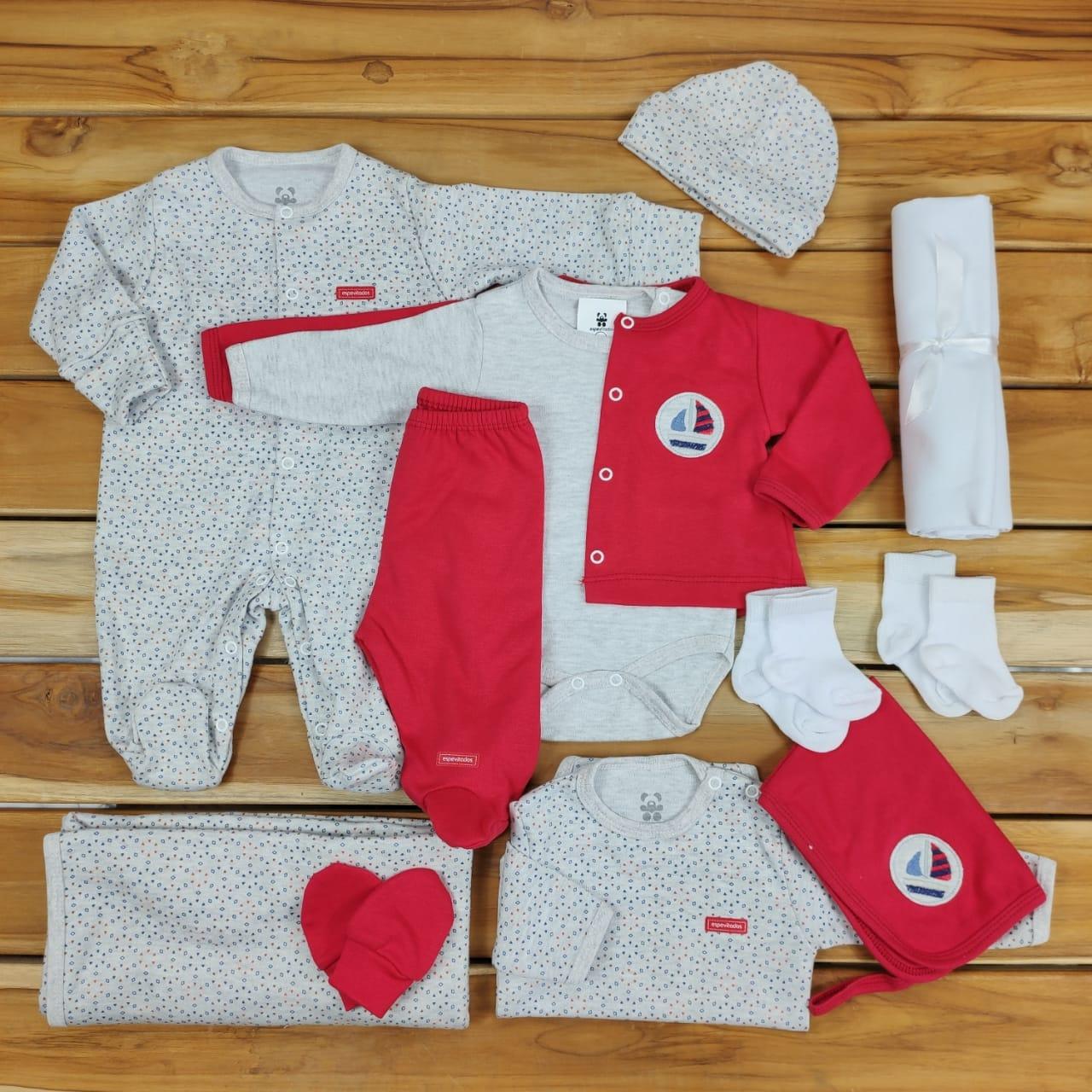 Kit Maternidade Vermelha e Mescla - 12 Peças