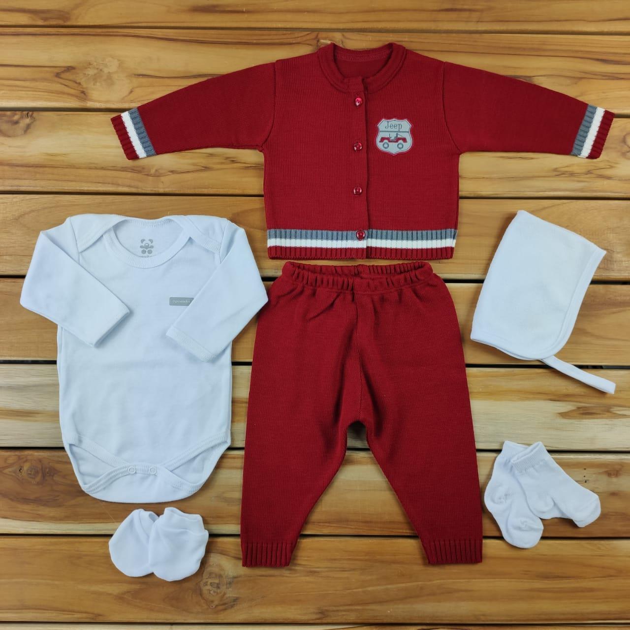 Kit Maternidade Vermelho com Tricô- 6 PEÇAS