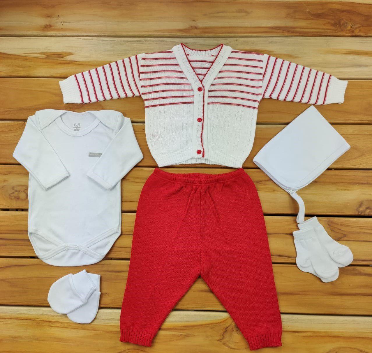 Kit Maternidade Vermelho e Branco com Tricô - 6 Peças