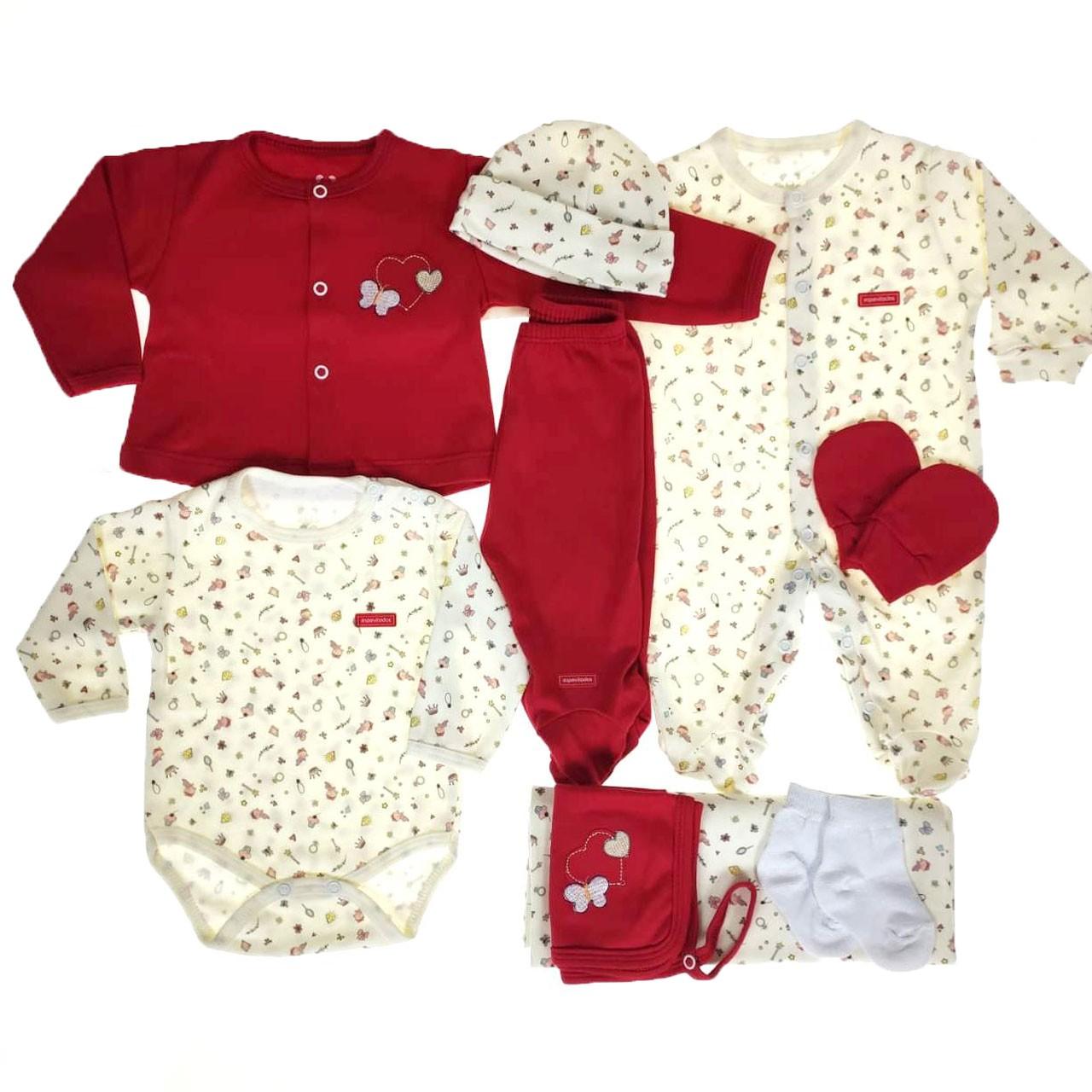 Kit  Maternidade Vermelho e Crú - 9 Peças