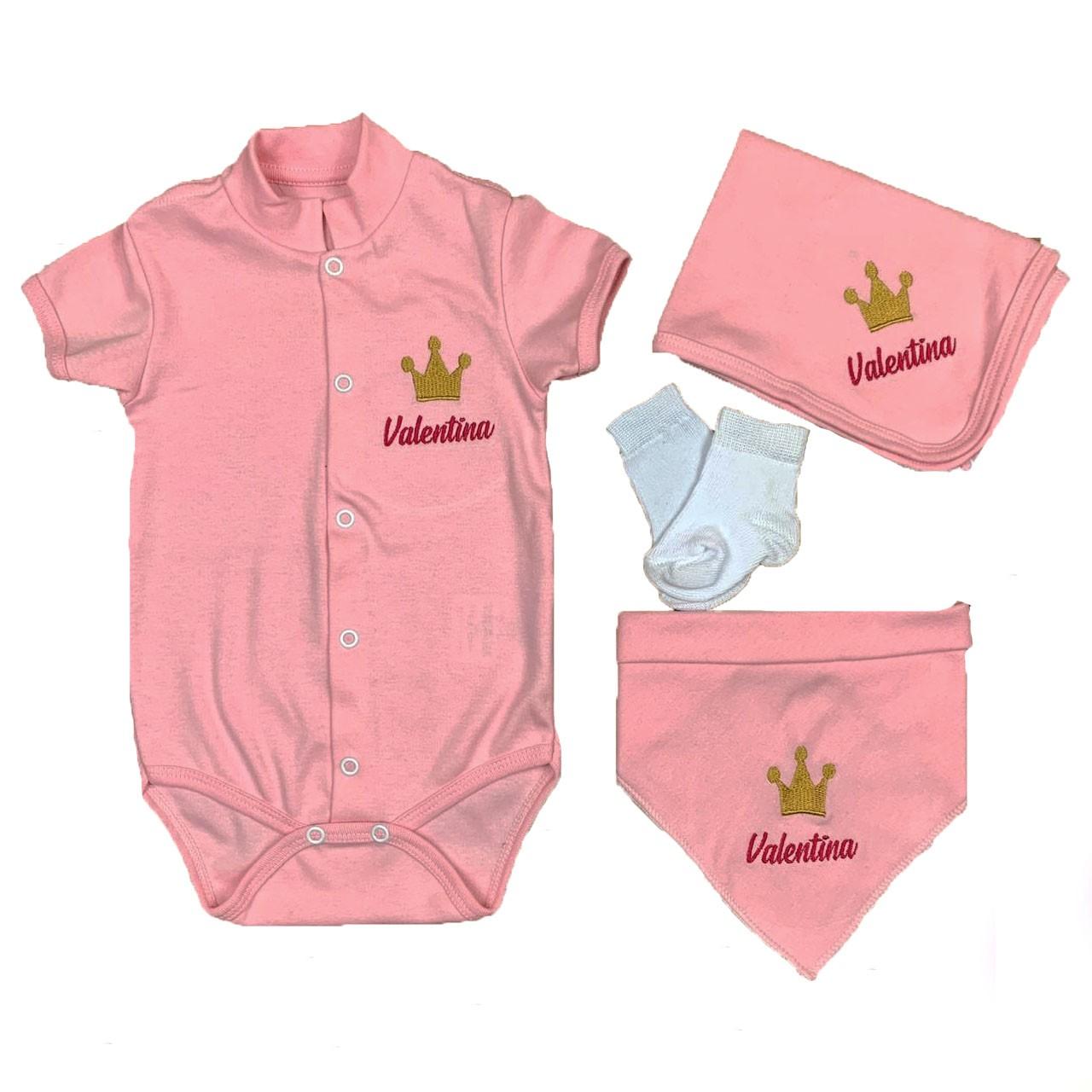Kit Personalizado com Nome do Bebê - 4 Peças