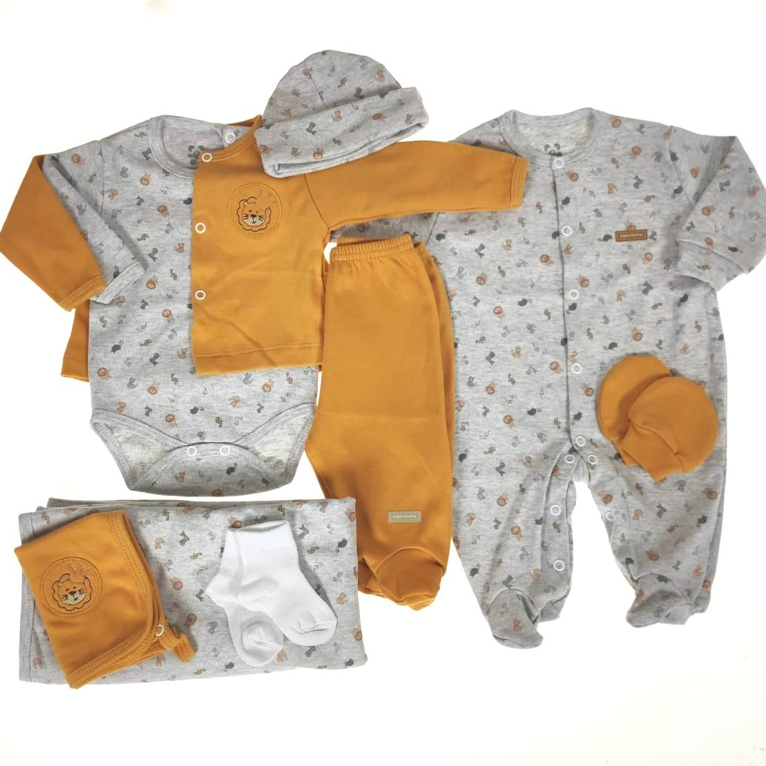 Kit Saída Maternidade Amarela - 9 Peças