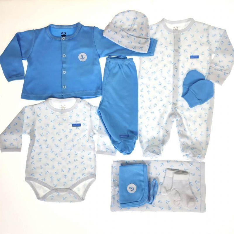 Kit Saída Maternidade Branco e Azul - 9 Peças