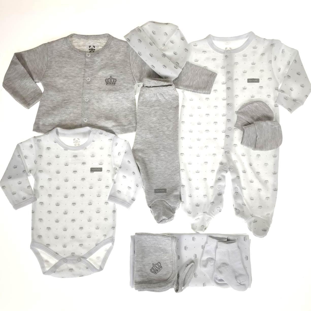 Kit Saída Maternidade Mescla e Branco - 9 Peças