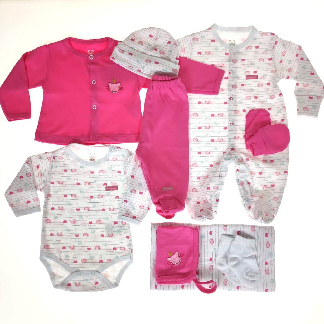 Kit Saída Maternidade Pink e Branco- 9 Peças
