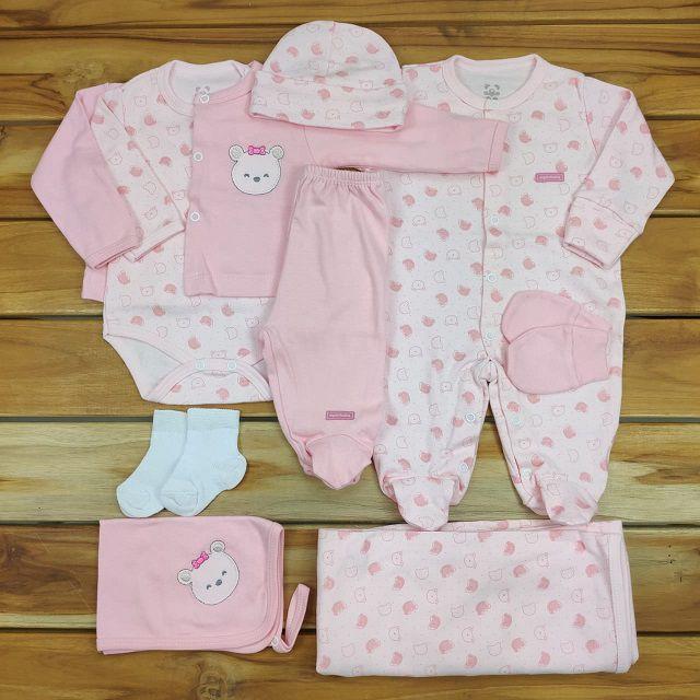 Kit Saída Maternidade Rosa - 9 Peças