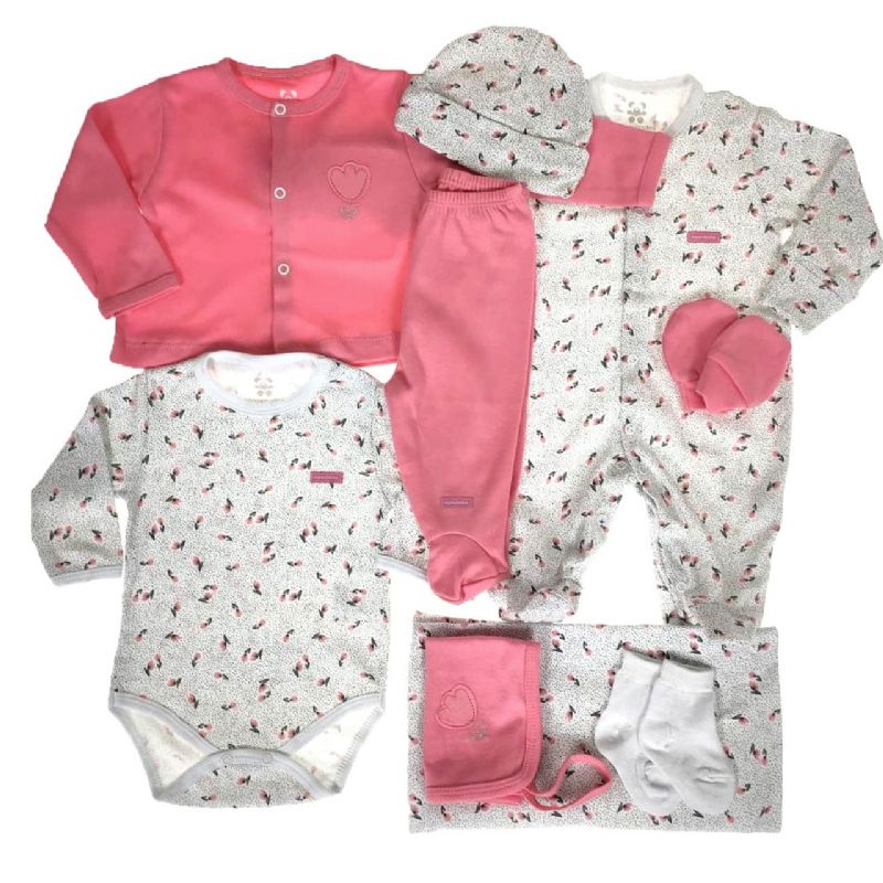Kit Saída Maternidade Rosa e Branca - 9 Peças