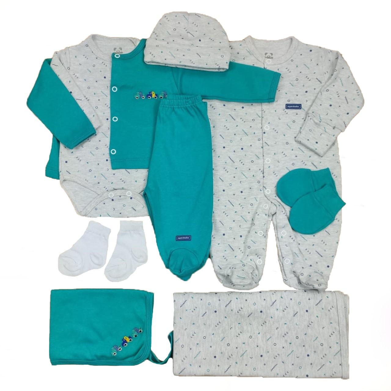 Kit Sáida Maternidade Verde e Mescla - 9 Peças