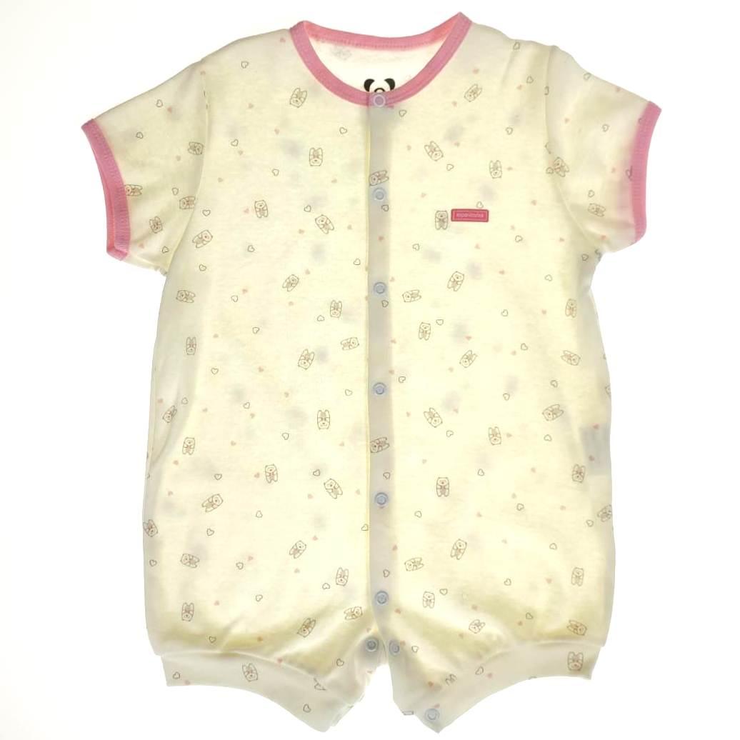 Macacão Bebê Curto Cru com Rosa Estampa