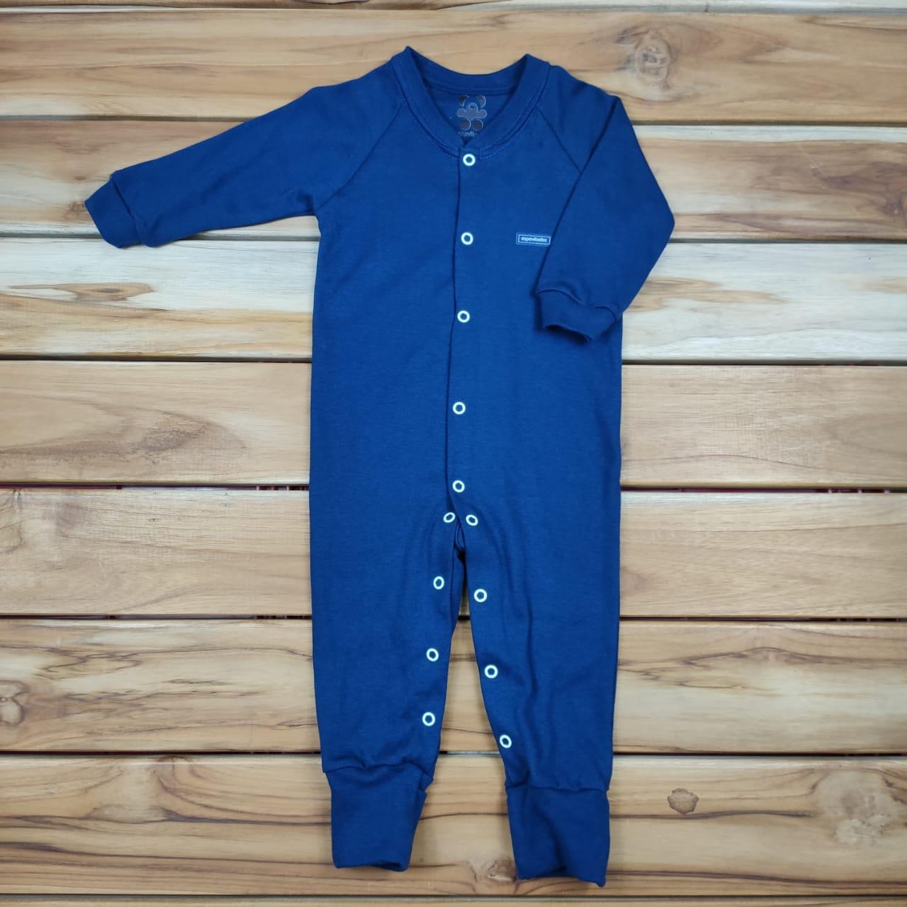 Macacão Bebê Longo Liso Azul
