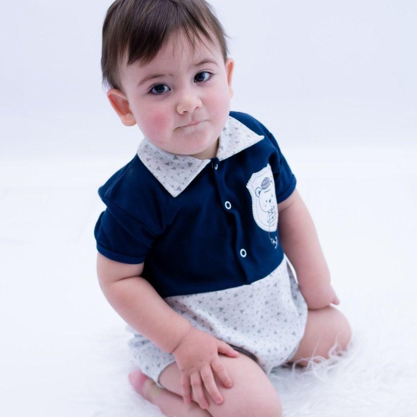Macacão Curto Bebê Azul