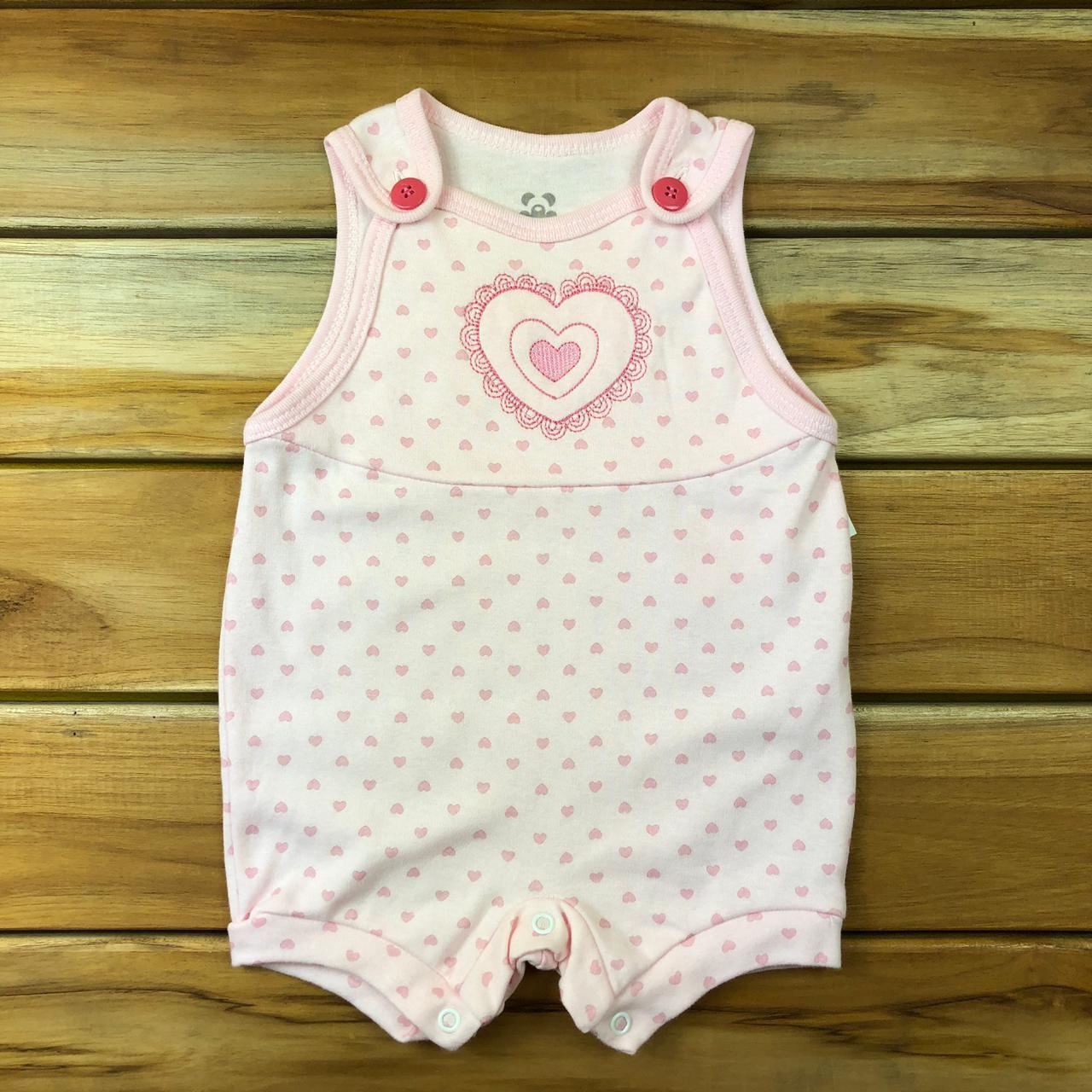 Macacão Curto Bebê Rosa