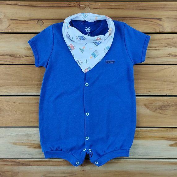 Macacão Curto Bebê Azul com Bandana