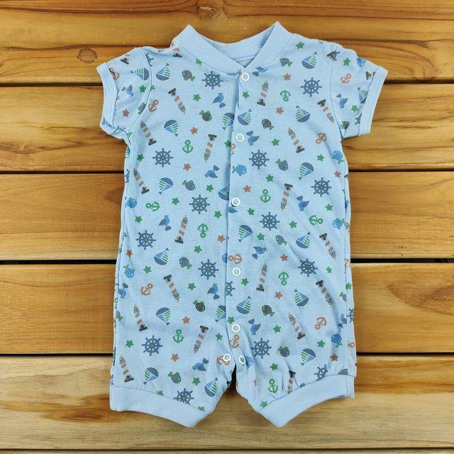 Macacão Curto Bebê Azul de Barquinhos